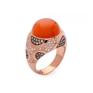 Anillo Oro Rojo Con Diamantes Marrones y Piedra Luna