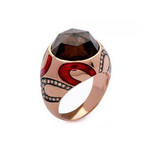 Anillo Oro Rojo con Diamantes Marrones y Cuarzo Ahumado