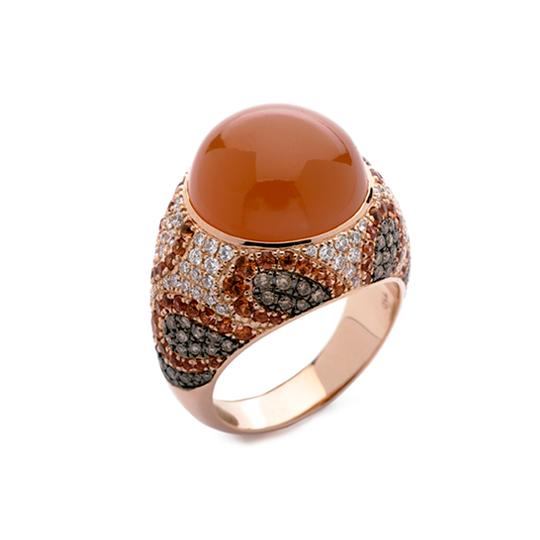 Anillo Oro Rojo con Diamantes y Cuarzo Rosa