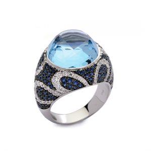Anillo Oro Blanco Diamantes, Zafiros y Topacio