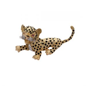 Broche Oro Amarillo Leopards