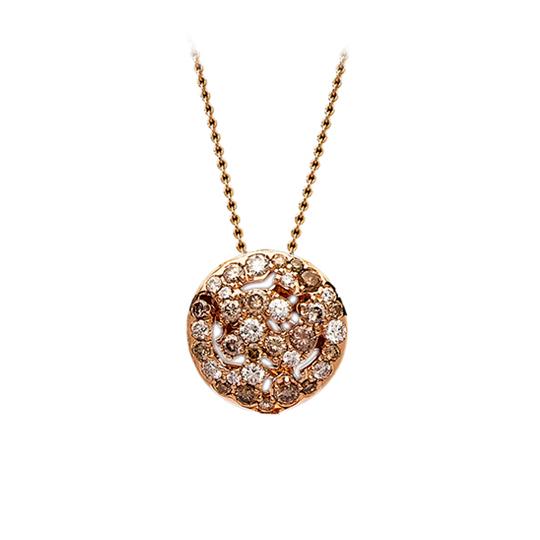 Colgante Oro Rojo con Diamantes Marrones