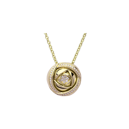 Colgante Oro Amarillo con Diamantes Rose