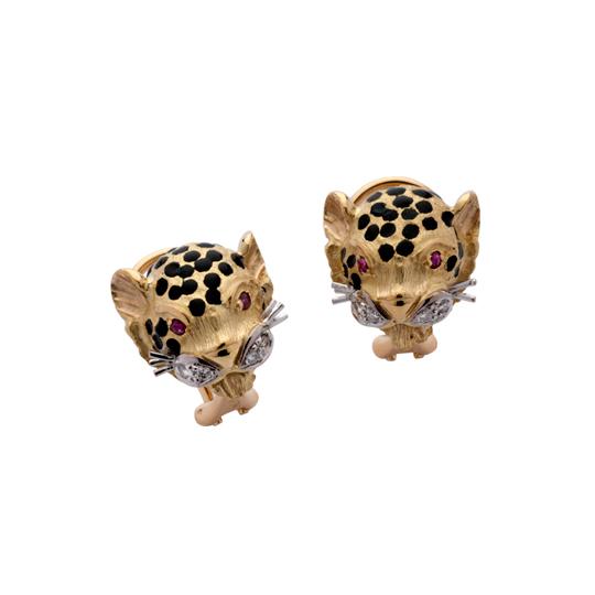 Pendientes Oro Amarillo con Diamantes y Rubíes