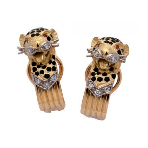 Pendientes Oro Amarillo con Diamantes y Rubíes Leopards