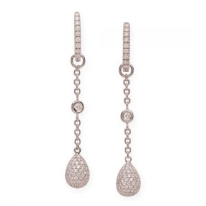 Pendientes Oro Blanco con Diamantes Eggs
