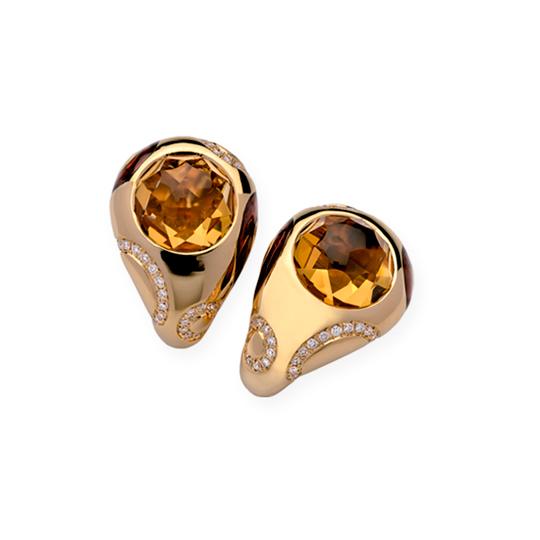 Pendientes Oro Amarillo con Diamantes y Citrino