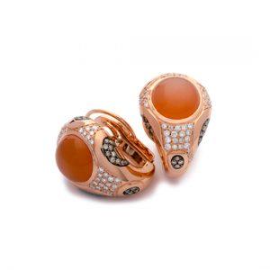 Pendientes Oro Rojo con Diamantes Marrones y Piedra Luna