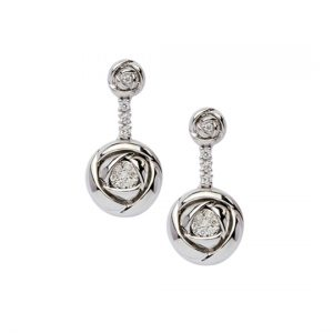 Pendientes Oro Blanco con Diamantes Rose