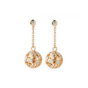 Pendientes Oro Amarillo Spheres con Diamantes