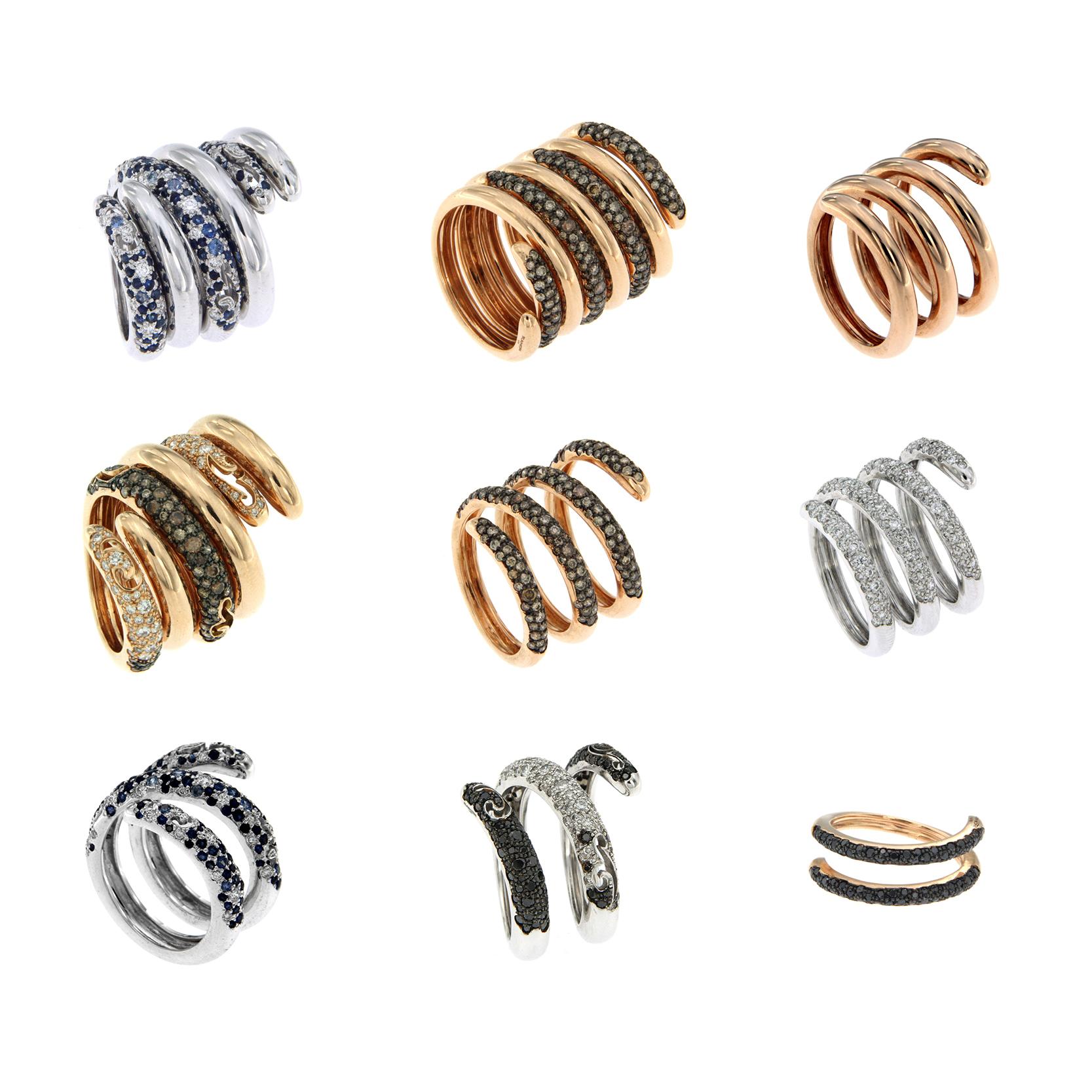 anillos espiral de oro